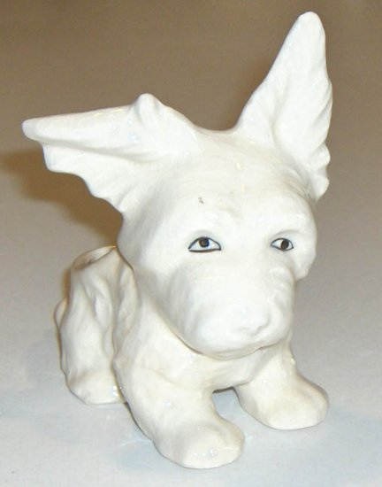 Vintage MIJ Saucy White Terrier Dog Planter - Japan