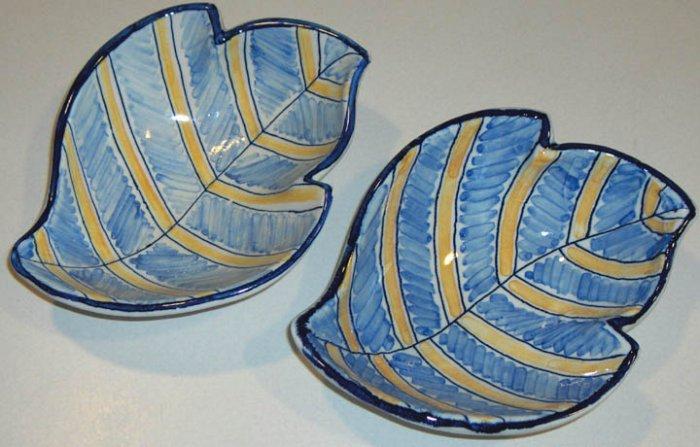 Blue and White Ceramic Leaf Bowls - Spain - Set of 2