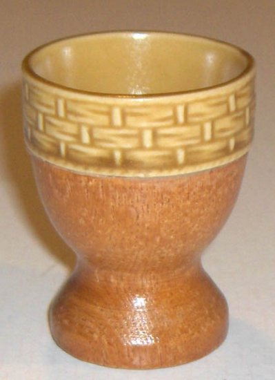 Vintage Ceramic Basketweave and Wood Base Egg Cup Set of 5