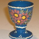 Hand-crafted, artist signed Blue Floral Egg Cup