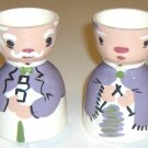 Vintage Grandpa and Knitting Grandma Ceramic Egg Cups - Set of 2