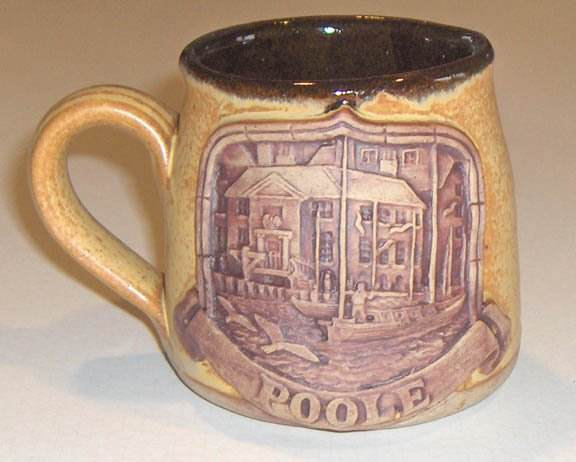 Poole Stoneware Mug with Applied Relief Art