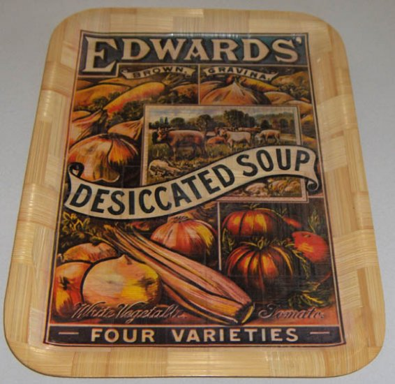 "Vintage Advertising Label Woven Wood Tray - 12"" x 16"""