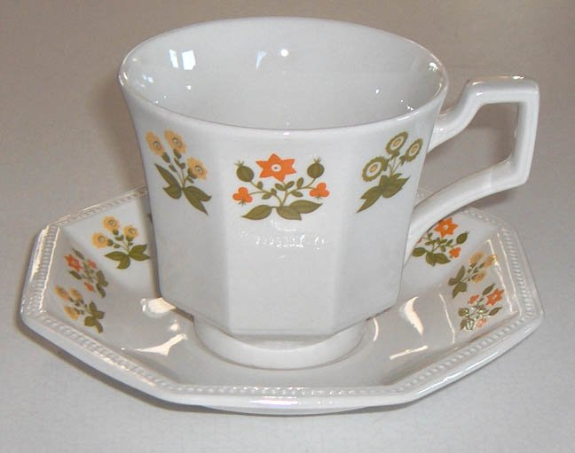 Vintage Johnson Brothers Heritage Posy Cup and Saucer - Set of 2