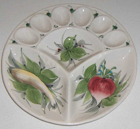 Hand-painted Deviled Egg and Relish Tray - Made in Italy
