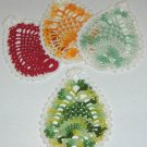 Set of 4 Crocheted Pineapple Coasters - Multiblend Cotton
