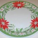 "Vintage 19"" Metal Holiday Tray - Poinsettia Design"