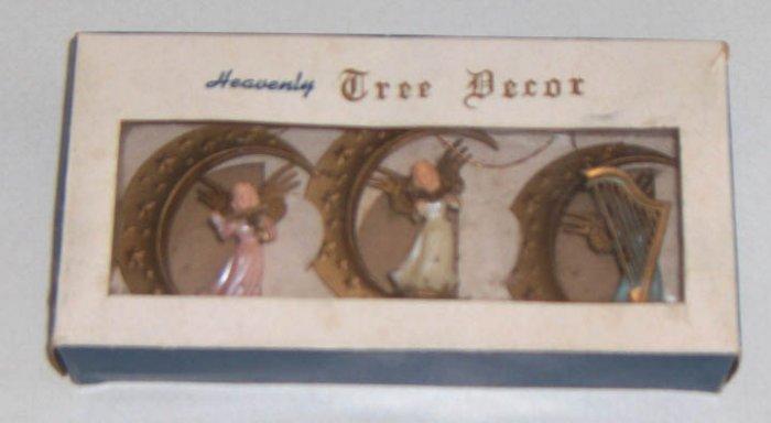 Vintage Heavenly Tree Decor Ornaments - Angel on Crescent Moon - Set of 3 in Original Box