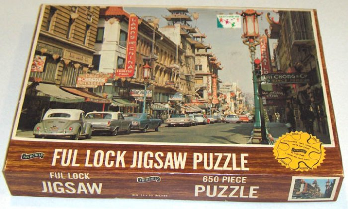 Vintage 1969 Fairchild 650 Piece Ful Lock Jigsaw Puzzle - Chinatown, San Francisco