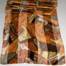 Picasso Long Scarf - Satin & Sheer Polyester - Gold, Bronze & Black