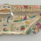 Vintage Souvenir Metal Tray - Tennessee State Shape - MIJ