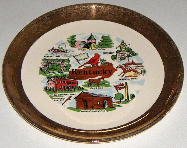 "Vintage Kentucky State Souvenir Plate - 9 1/4"""