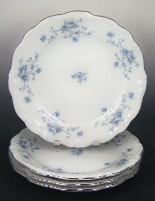 Johann Haviland Dessert Plates - Blue Garland Pattern with Platinum Trim - Set of Six