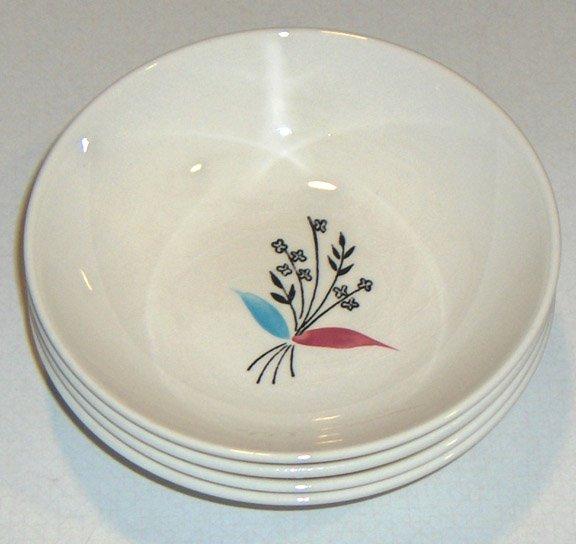 Set of 4 - Vintage Stetson Pink & Blue Handpainted Underglaze 1957 Dessert Bowls