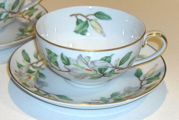 Treasure (WHITE MAGNOLIAS) by Contour China Cup and Saucer - Set of 2