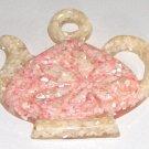 Vintage Mother-of-Pearl Resin Trivet in shape of Teapot