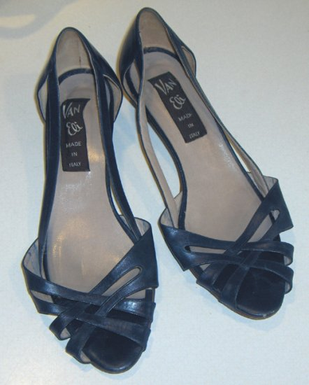 Vintage Van Eli Navy Blue Open Toe Low Heel Shoes Size 7 1/2M