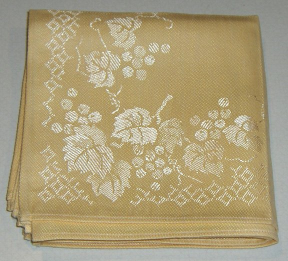 Set of 6 Occupied Japan Unused Damask Napkins with Original Label