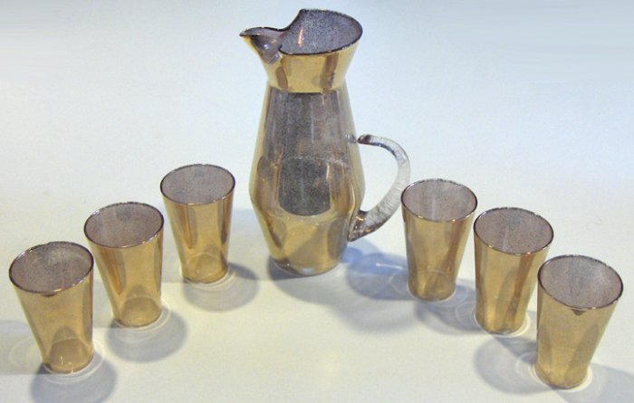 Vintage Gold Spray Pitcher and 6 Glasses