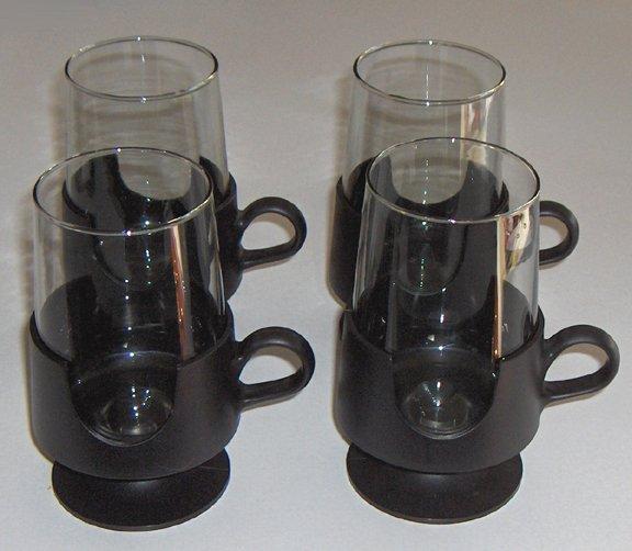 "Vintage CORNING GLAS-SNAP 5"" Glasses / Mugs - Black Set of 4"