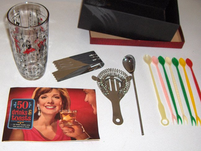 Vintage Bar Set with Recipe Glass & Southern Comfort Booklet circa 1960s