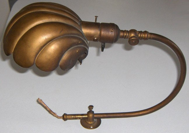 Antique Extension Portable Brass Lamp with Shell Shade circa 1890s
