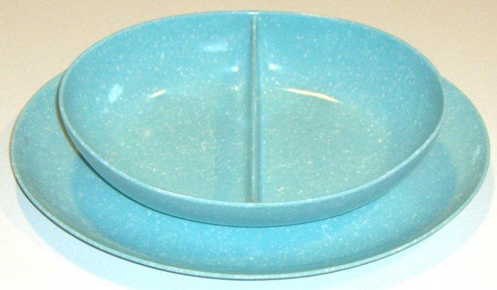 Vintage Melamine Melmac Blue Speckled Divided Server and Platter