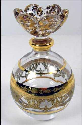 Royal Limited Italian 24% Lead Crystal Perfume Bottle with Floral Stopper