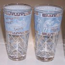 Vintage Mid-Century Grecian Art Glass Tumblers - Set of 4
