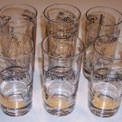 Vintage Construction Themed High-ball Glasses - Black & Gold Set of 6