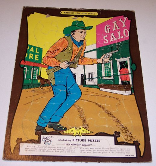 Vintage Tuco Frame-Tray Puzzle The Frontier Sheriff - circa 1960s