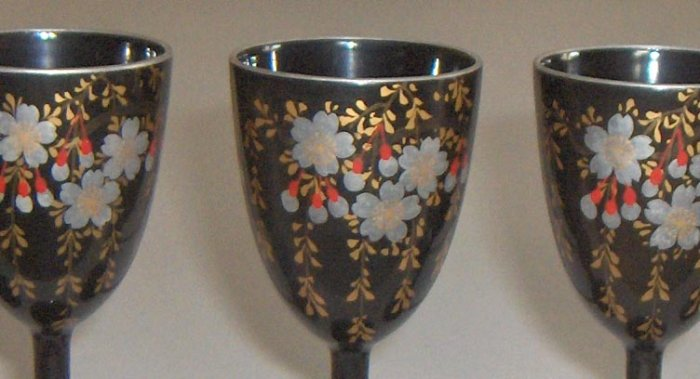 Vintage Japanese Lacquerware Cordials - Cherry Blossoms - Set of 6