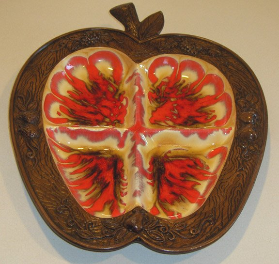 TREASURE CRAFT Apple Shaped Platter / Tray Orange Glaze 60's