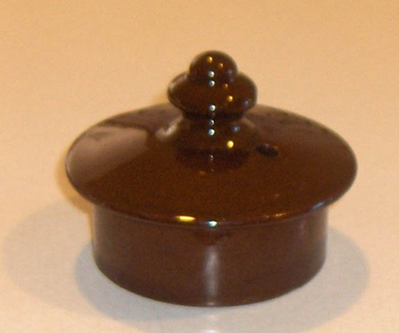 "Vintage Redware Teapot Lid - 3"" (2 1/2"" inside rim) Dark Brown"