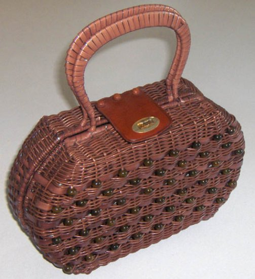 Vintage Plastic Wicker & Beads Handbag Purse