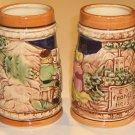 Vintage Country Scene Stein Mug MIJ - Set of 2