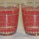 Vintage Federal Glass On the Rocks 8 oz. Tumblers - Moorish Graphic - Set of 5