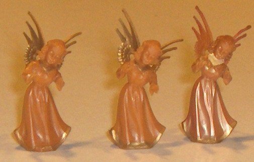 Set of 5 Angels - Plastic 'Handcarved Wood' Look Christmas Miniatures - Germany