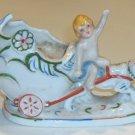 Vintage Porcelain Child on Egg Cart with Tiger Planter MIJ circa 1940s