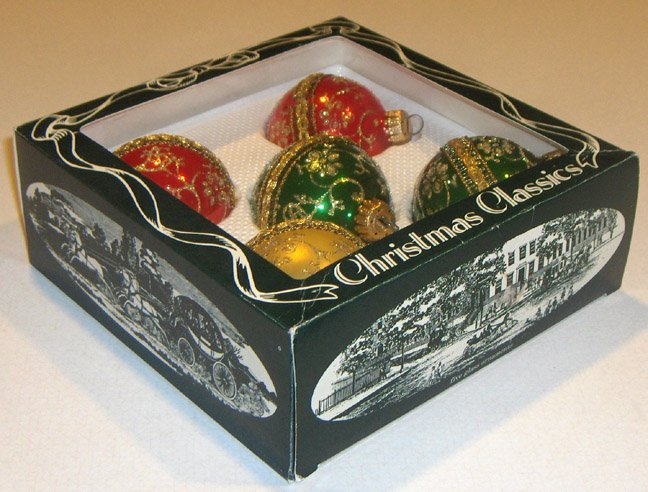 Vintage Christmas Classics - 5 Hand Decorated Glass Ornaments MIB