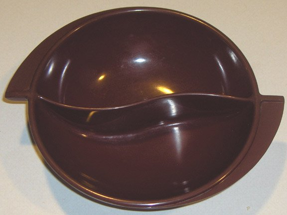 Vintage Melmac Boonton Divided Serving Bowl - Maroon Reddish Brown