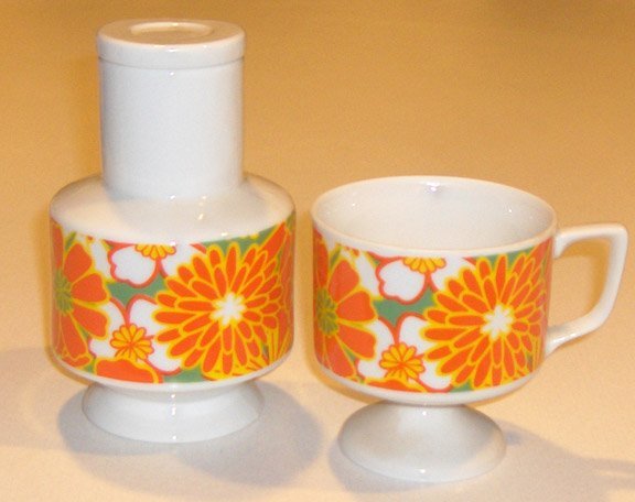 Retro Orange Yellow Floral Tea / Coffee Carafe & Mug MIJ