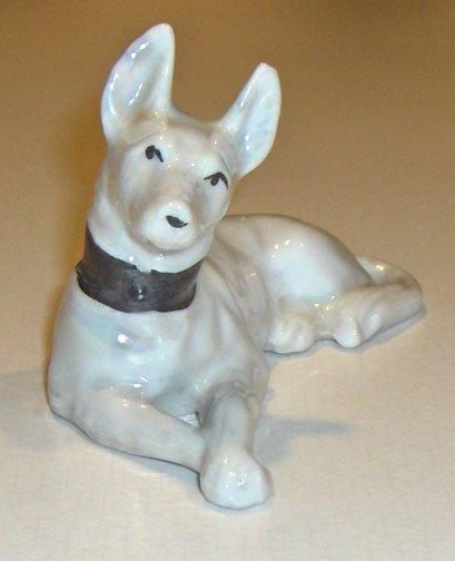Vintage Lusterware White German Shepard Dog MIJ