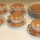 Vintage Handpainted Lusterware Gold Moriage Luncheon / Dessert Set 16 Pcs