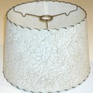 """Retro Laced Plastic Lamp Shade - 12"""" Gold & White Lace Pattern"""