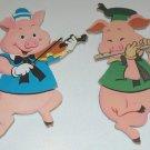 Vintage Disney Three Little Pigs (minus one) Pressboard Nursery Wall Plaques