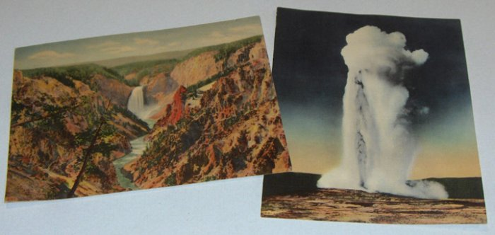 Unused Vintage Souvenir Yellowstone National Park Colorized Giant Post Cards - Set of 2 circa 1950s