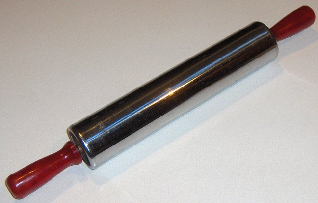 Vintage Silver Rolling Pin with Red Marbled Plastic Handles