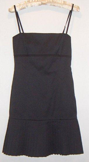Elie Tahari Stretch Cotton Black Dress - Empire Waist, Princess Seams, Pleated - Size 0