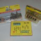 HO Scale Train Figures - Atlas Unpainted Figures, Noch Cemetery Plots & Life-Like Hogs NIP Set of 3